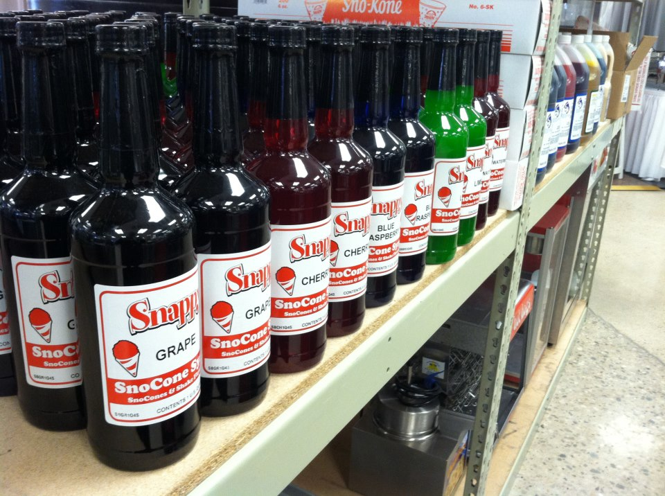 Multiple flavors of Snappy SnoCone Syrup available to buy.