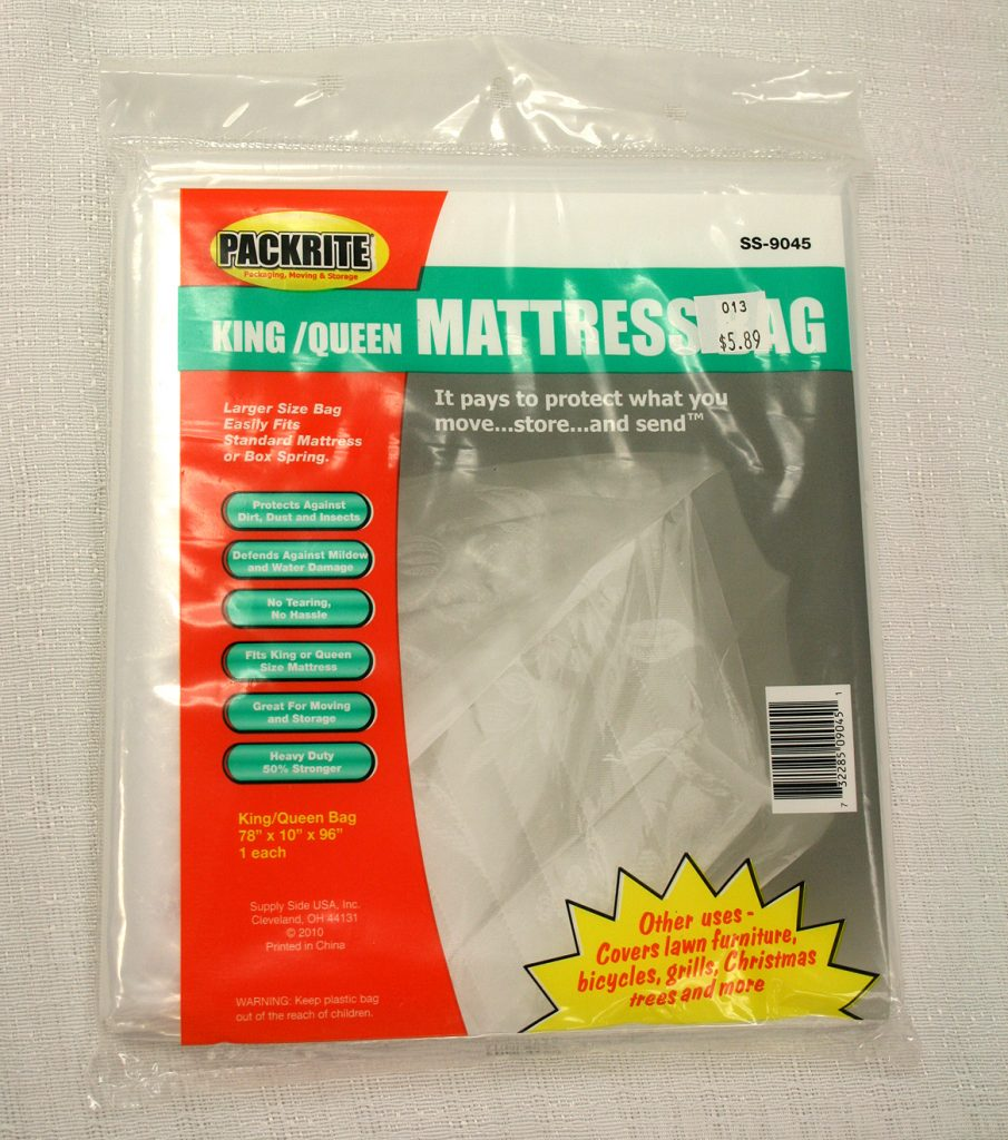 King and Queen sized mattress protective plastic bag for moving.