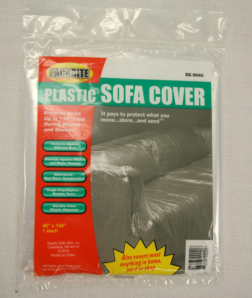 Sofa sized mattress protective plastic cover for moving.