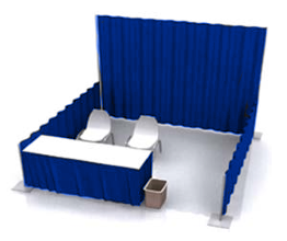 Pipe and Drape booth setup with table and chairs.