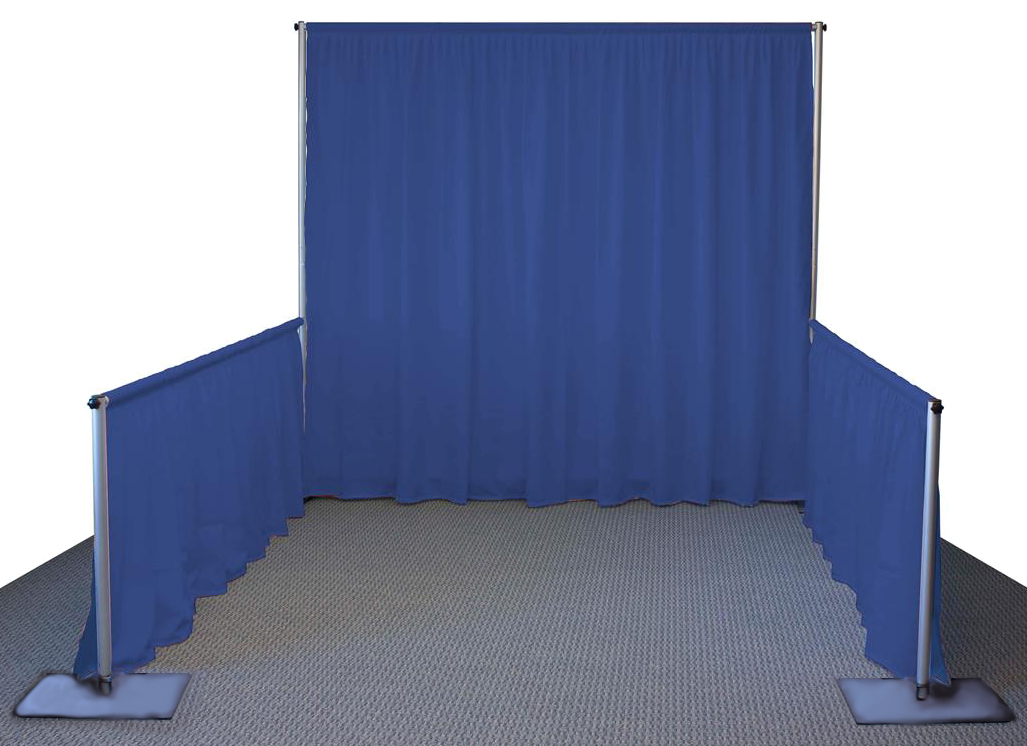 """""""Single Booth"""" setup with Pipe and Drape."""