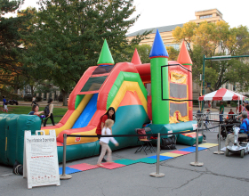 Jump and Slide area of combo bounce house at the Iowa Soul Festival