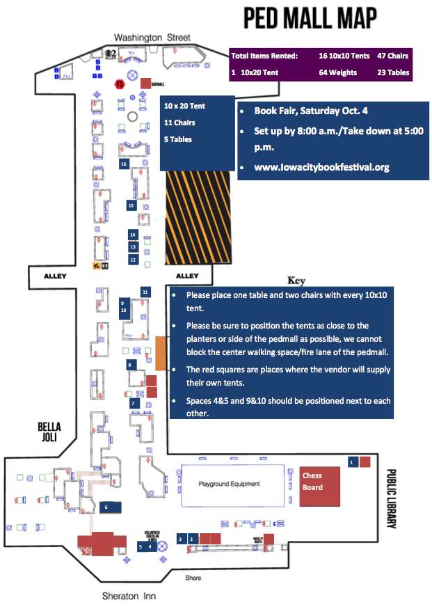 Map of the Pedestrian Mall in Iowa City Party and event planning 2014 book festival