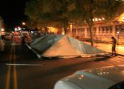 Late night frame tent setup for festival