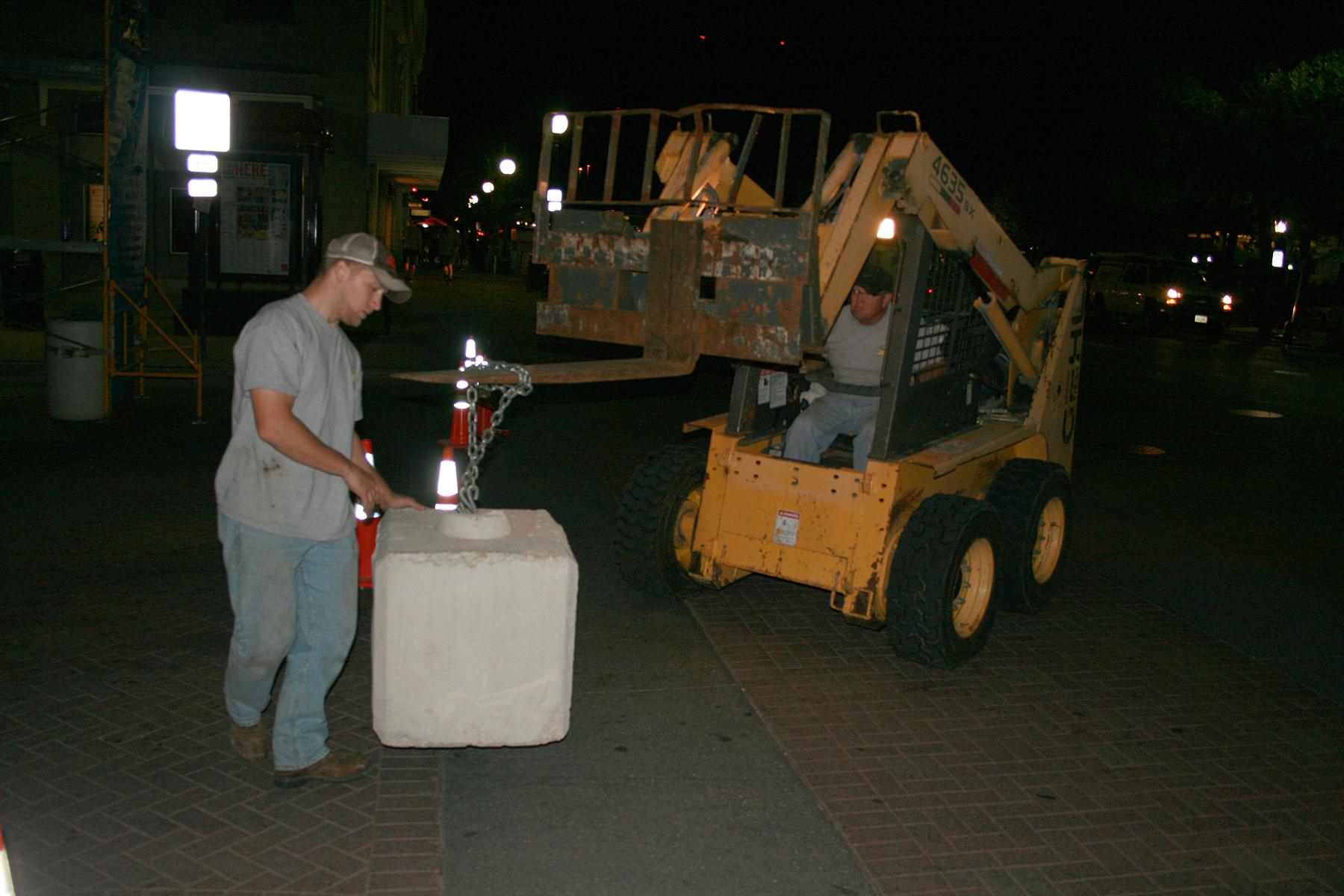 Placing 700 lbs Block & Roll ballast