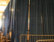 16 feet high Presidential Blue Velour and bike rack barricade 01