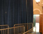 16 feet high Presidential Blue Velour and bike rack barricade 02