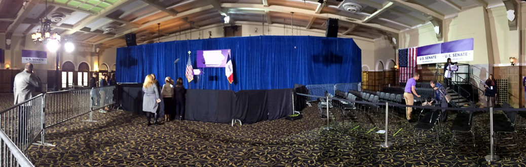 Event set-up for Bruce Braley and First Lady Michelle Obama
