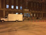 Big Ten Rentals set-up crew arrives early in Downtown Iowa City.