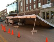 Motorcade tent set-up in Iowa City for Michelle Obama.