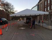 Motorcade tent set-up.