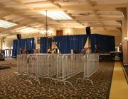 bike rack barricade and 16 feet high Presidential Blue Velour