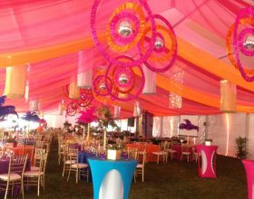 inside 18m x 60m clearspan event structure with decor