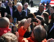 President Bill Clinton in the Crowd in Des Moines