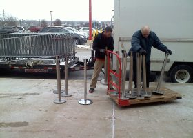 Stanchions delivery for Black Friday crowd control at Target