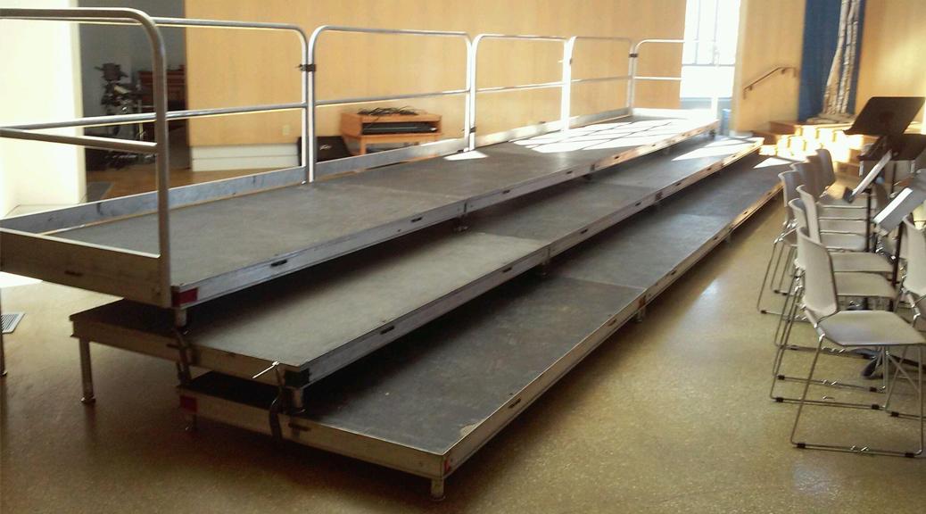 Classroom Decor Items ~ Rent standing choir risers w railing iowa city cr qc