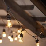 Vintage outdoor café string lights with clear globe