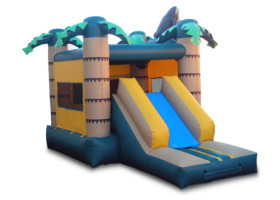 Back of Monkey themed combo bounce house and slide