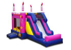 Birthday cake inflatable bounce house
