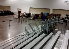 Bleacher view for in door gymnastics meet