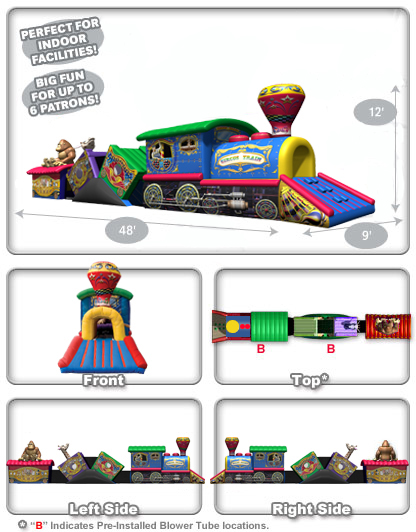 Dementions Circus train kiddie crawl-through obstacle course