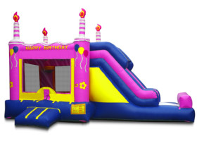 Front of Birthday cake inflatable bounce house
