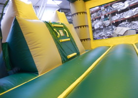 Inside the monkey themed combo bounce house and slide