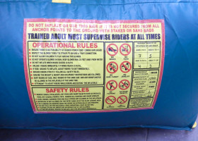 Operational rules for monkey themed combo bounce house and slide