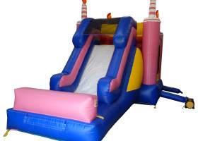 Side view of Birthday cake bounce house and slide combo