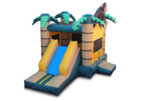 Slide Monkey themed combo bounce house and slide