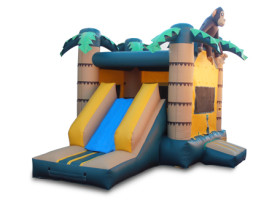 Slide and enterance Monkey themed combo bounce house and slide