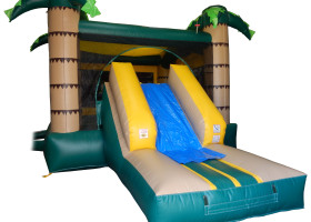 Slide area on the monkey themed combo bounce house and slide