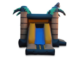 Slide of Monkey themed combo bounce house and slide