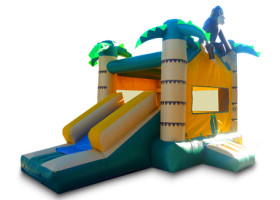 Slide on Monkey themed combo bounce house and slide