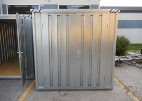 portable temporary steel storage shed with lockable door