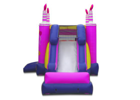 View of slide Birthday cake inflatable bounce house