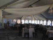 Draping under 40′ x 60′ jumbo track tent at grand opening