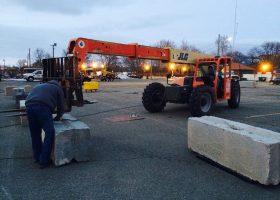 JLG Telehandlers moving concrete tent ballast
