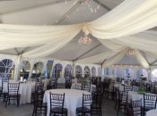 Sheer Draping inside 40′ x 60′ jumbo track tent at grand opening