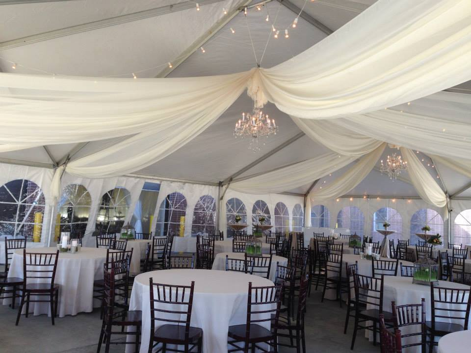 Sheer Draping inside 40u2032 x 60u2032 jumbo track tent at grand opening & Sheer Draping inside 40u0027 x 60u0027 jumbo track tent at grand opening ...