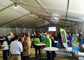 Sinclair tracker under 60′ x 164′ clearspan at 2015 Iowa Ag Summit