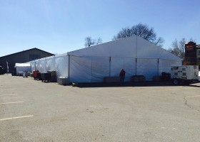 View of 60′ x 164′ (18m x 50m) clearspan losberger tent at 2015 Iowa Ag Summit