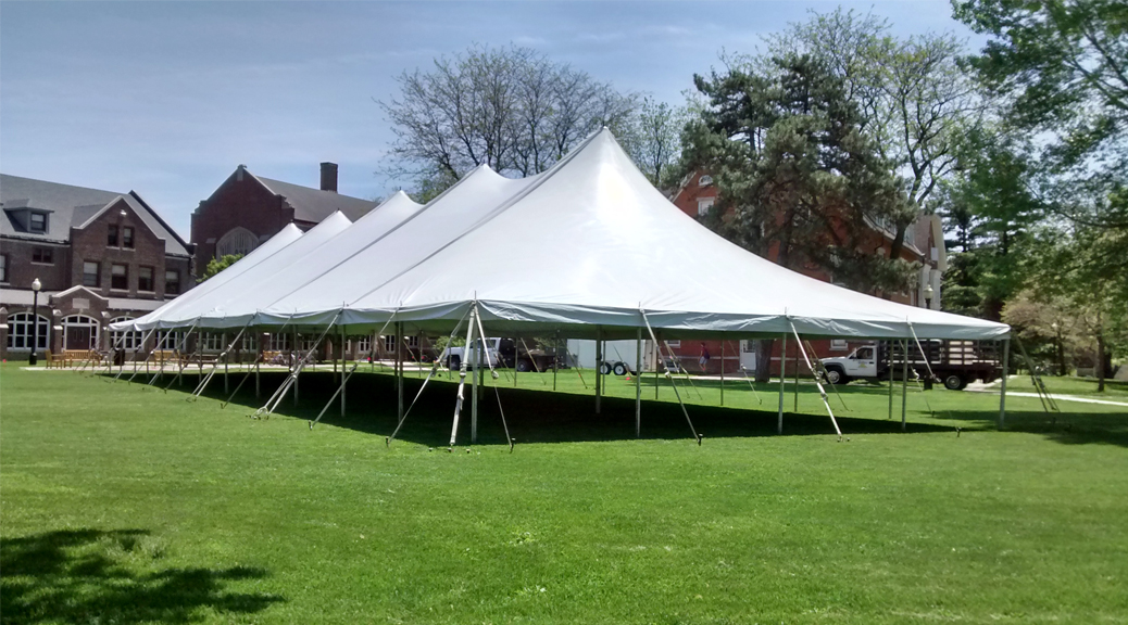 2015 College graduation reception tent at Grinnell College