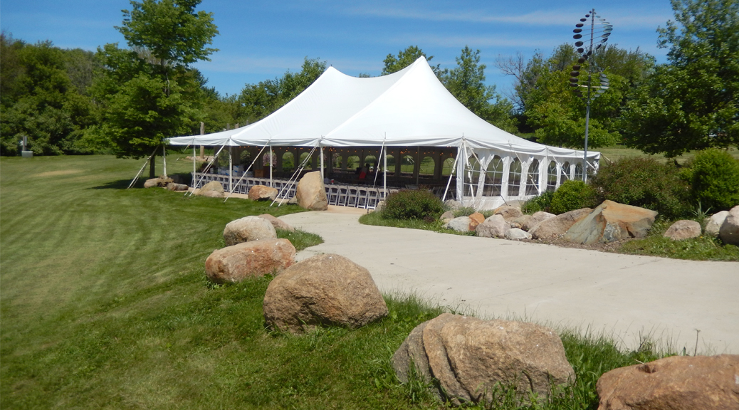 Wedding Tent Set Up At Harvest Preserve In Iowa City