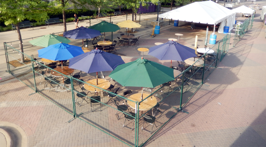 Entire Beverage garden or Beer garden with tent tables and fencing