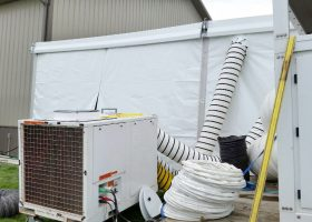 Air Conditioning unit outside of wedding tent