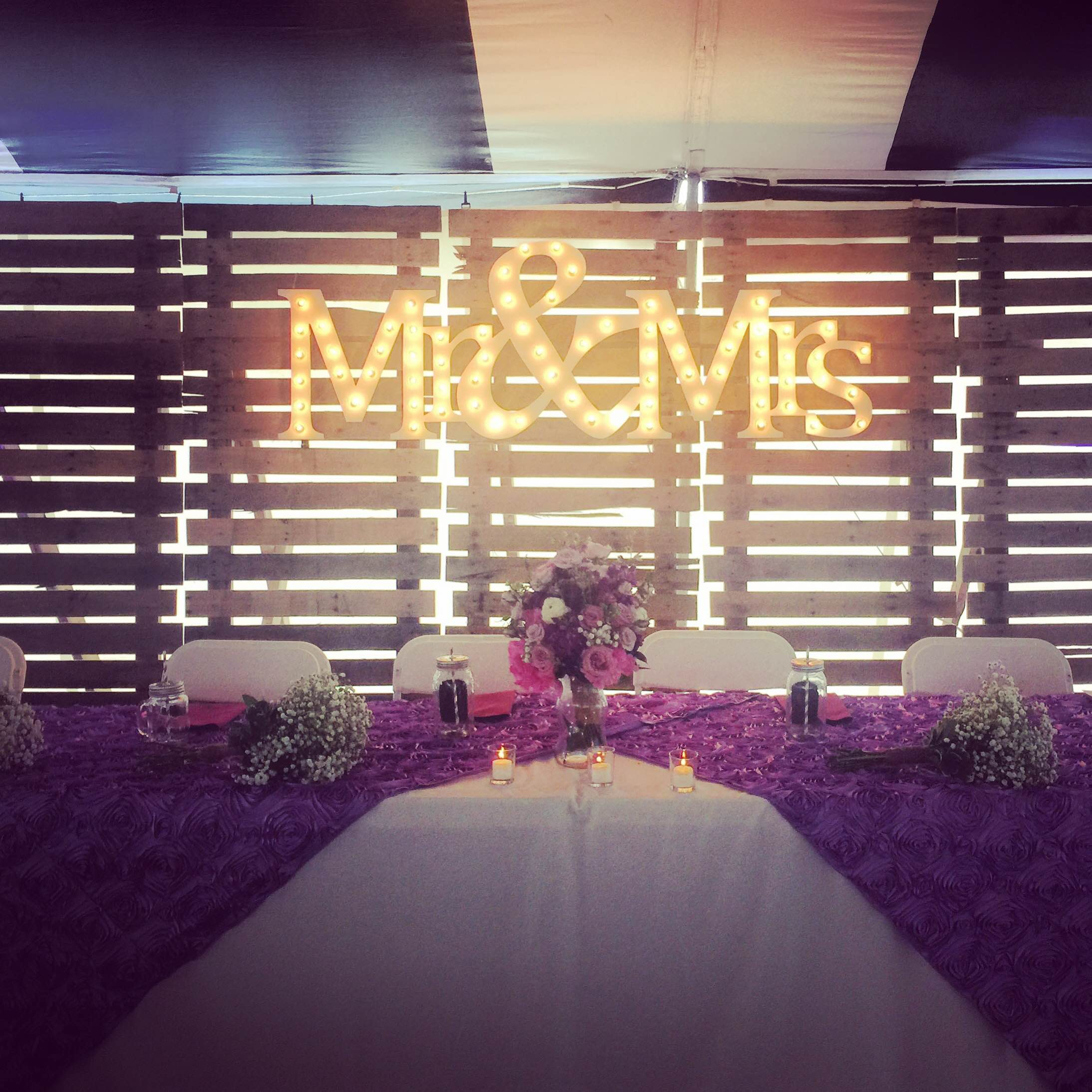 Head table with backdrop at wedding - Iowa City, Cedar Rapids: Party ...