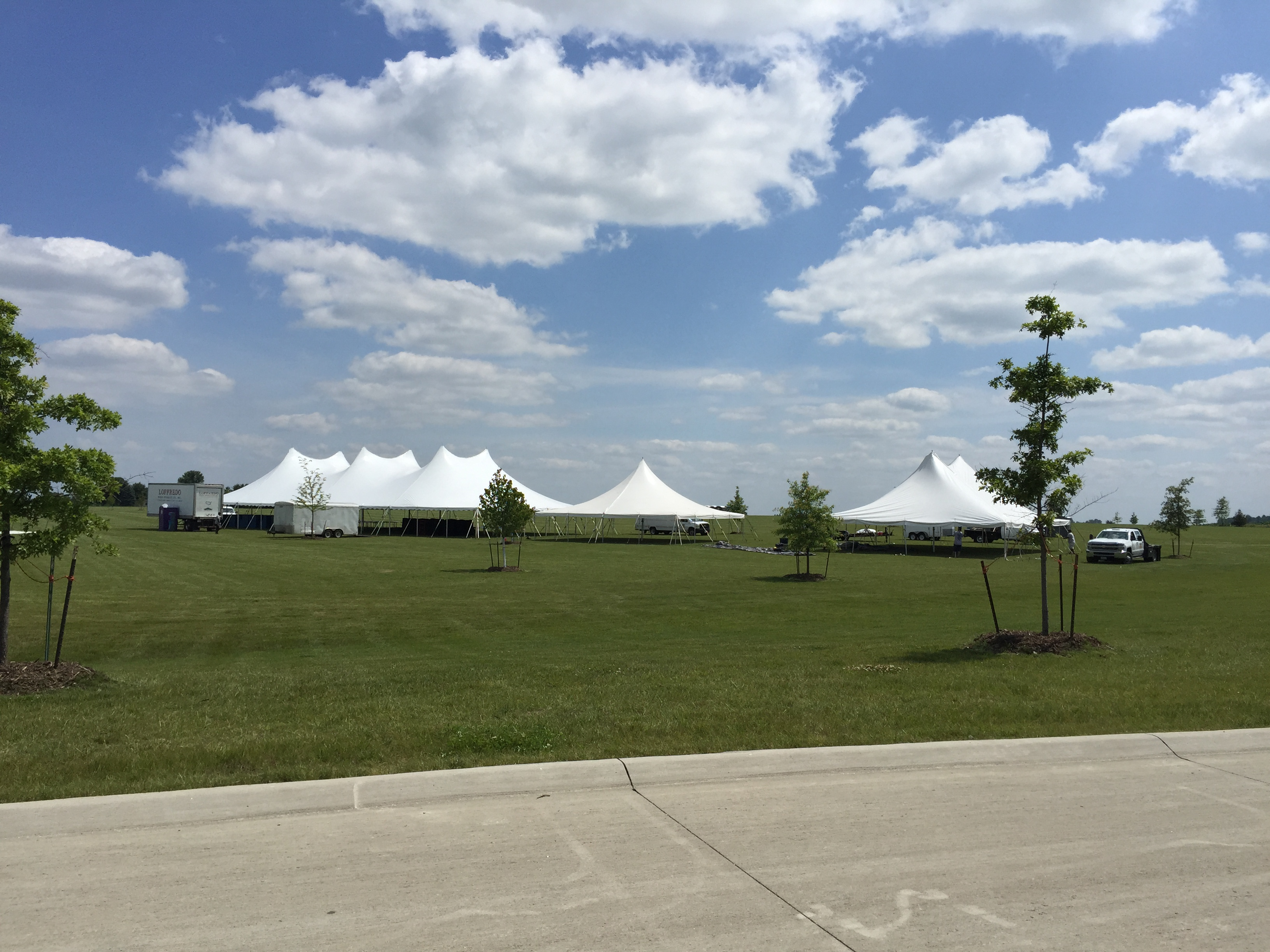 Outdoor festival tent set-up for Blues and BBQ & Festival set-up for Blues u0026 Barbecue in North Liberty IA
