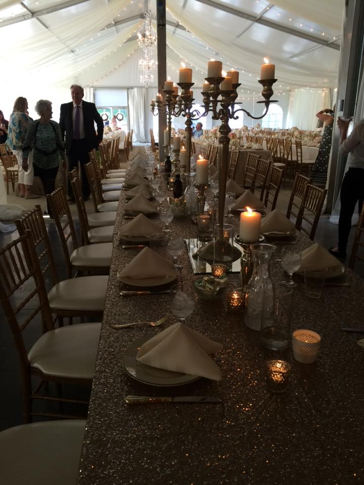 Wedding reception tables setup under clearspan tent - Iowa City ...