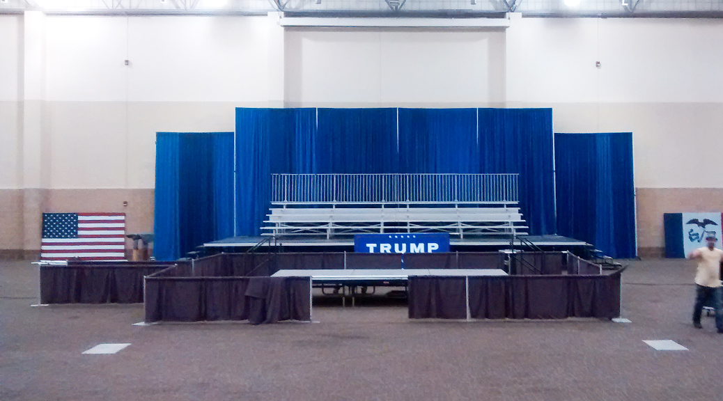 Political campaigning event for Donald Trump in Dubuque, Iowa